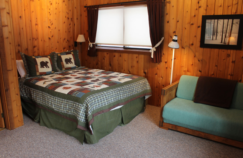 Vacation rental bedroom at Big Powderhorn Lodging.