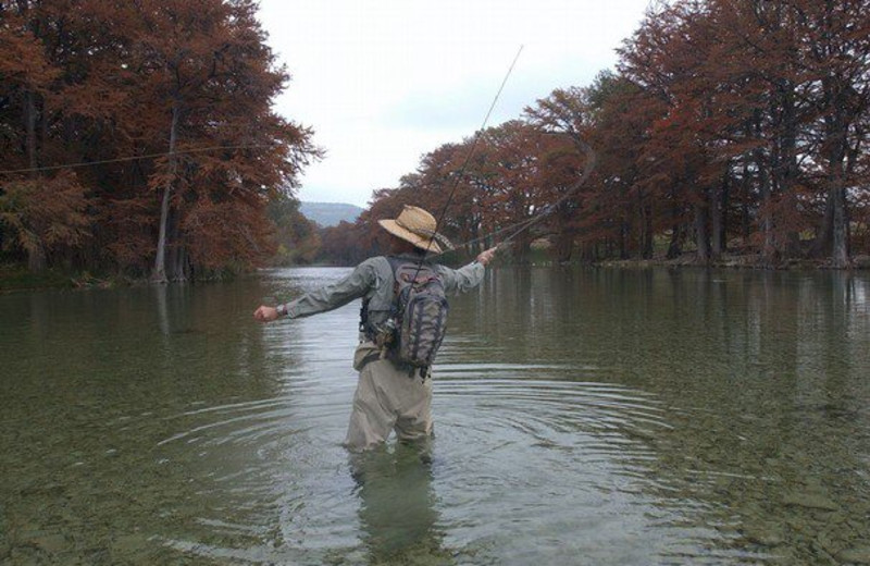 Fly fishing at River Haven Cabins.