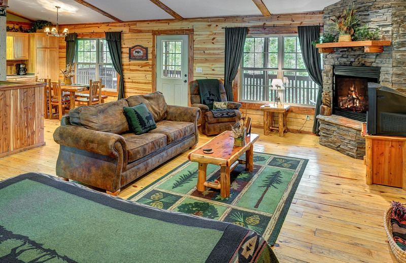 Cabin living room at Lake Forest Luxury Log Cabins.