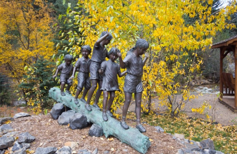 Outdoor statue at The Evergreens On Fall River.