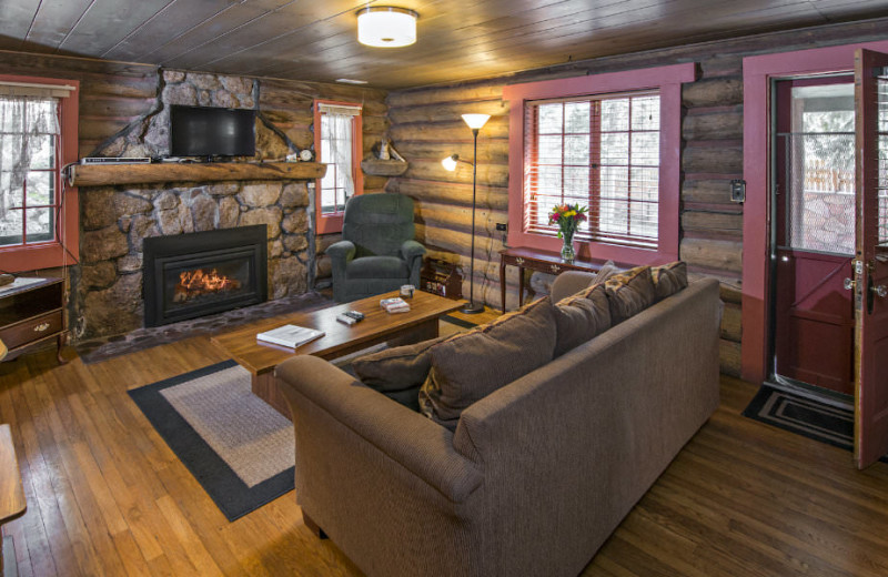 Cabin living room at Rocky Mountain Lodge & Cabins.