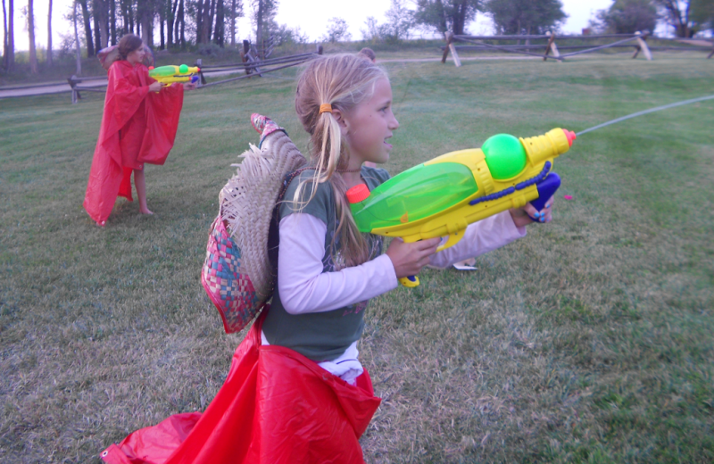 Water fight at Vee-Bar Guest Ranch.