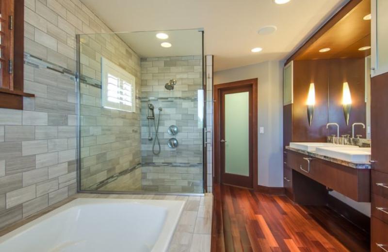 Rental bathroom at Sun Palace Vacation Rentals.