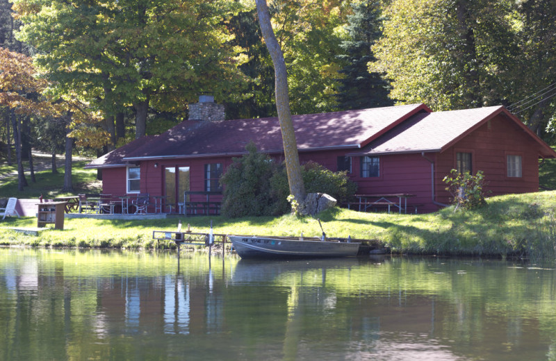 Cabin exterior at Five Lakes Resort.