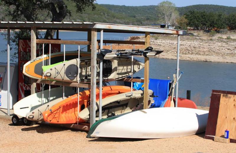 Kayaks at Painted Sky Inn.