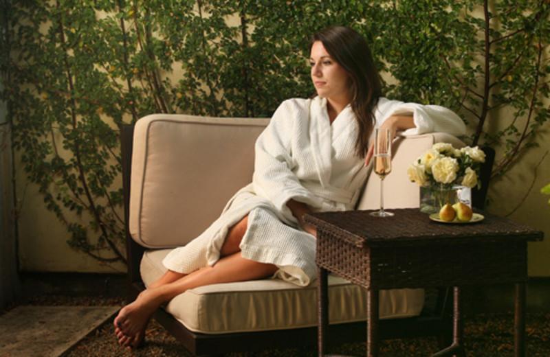 Relaxing at Hotel Healdsburg.