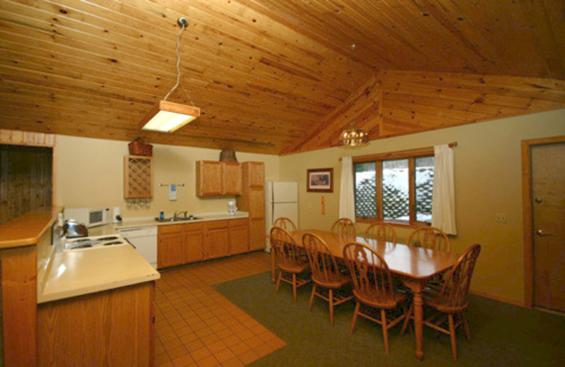Guest kitchen and dining at Gunflint Lodge.