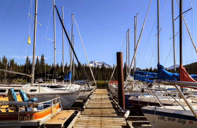 Fishing boats at Elk Lake Resort.