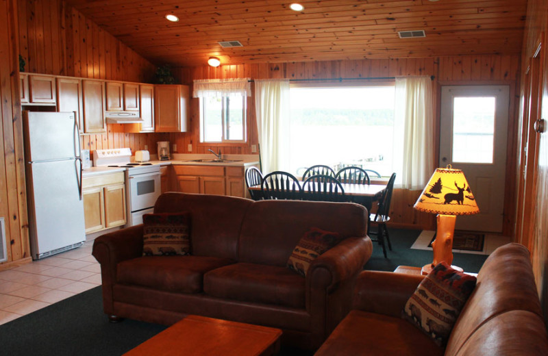 Cabin living room at Auger's Pine View Resort.