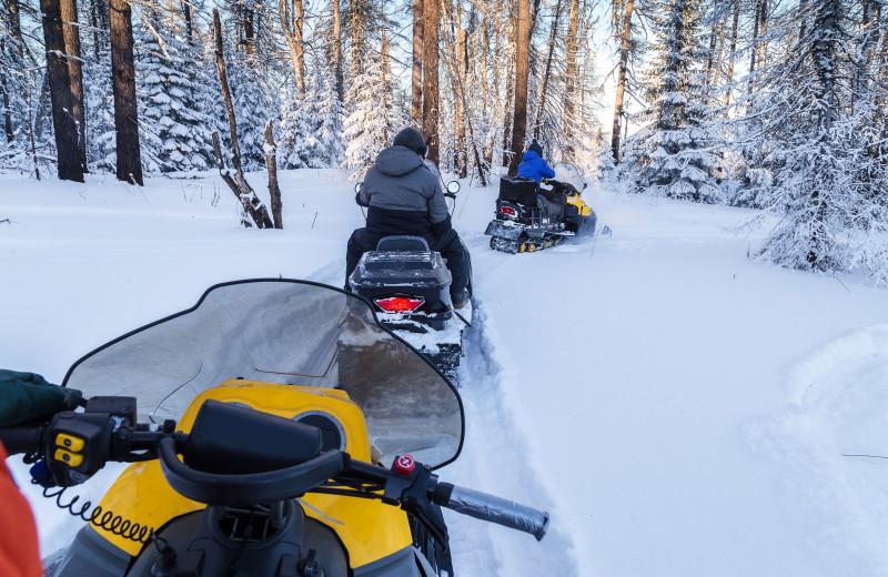 Snowmobiling at River Bend's Resort & Walleye Inn.