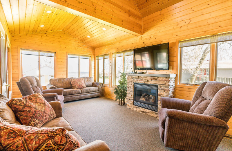 Cabin living room at Otter Tail Beach Resort.