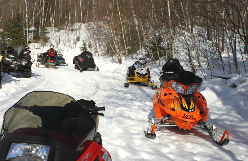 Snowmobiling at Dunlop Lake Lodge.