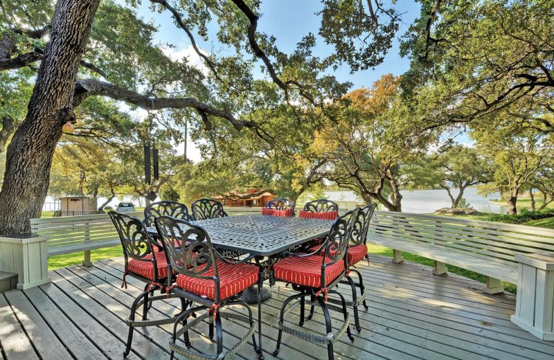 Rental patio at Shady Grove Vacation Home on Lake LBJ.