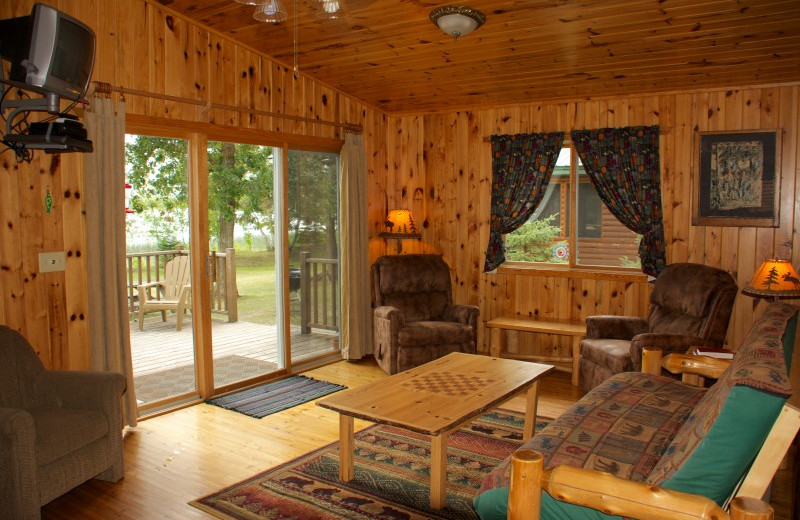 Cabin living room at Bear Paw Resort.