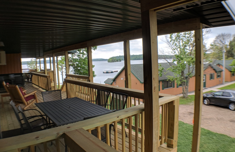 Cabin deck at Campfire Bay Resort.