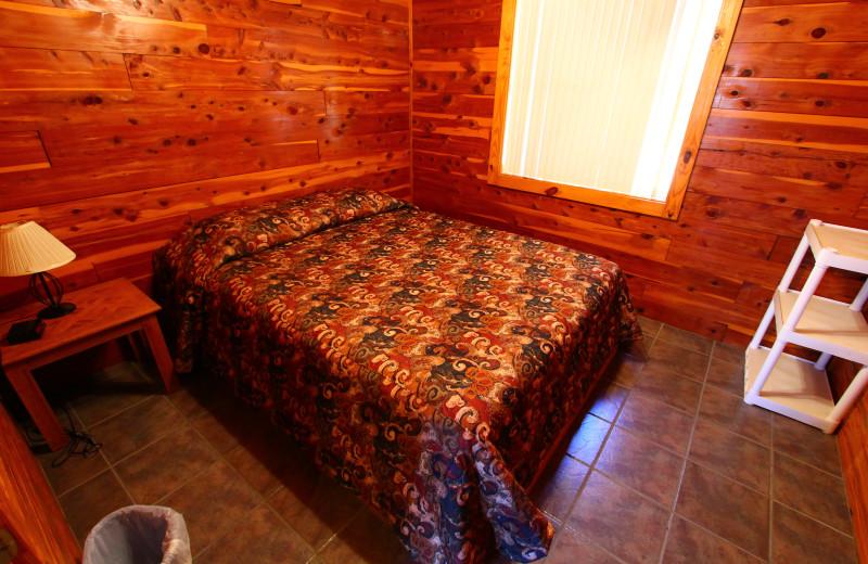 Bedroom at Ozark Cabins.