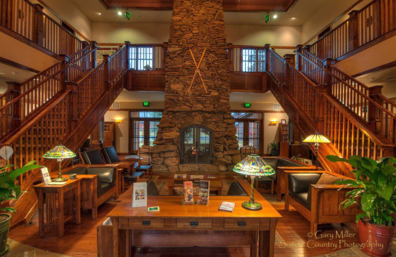 Lodge interior at FivePine Lodge.
