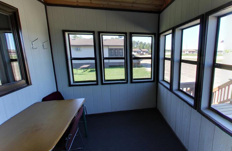 Cabin sun room at Buffalo Point Resort.