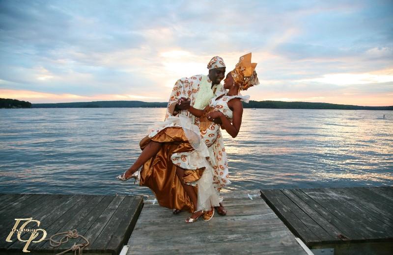 Wedding couple at Ehrhardt's Waterfront Resort.