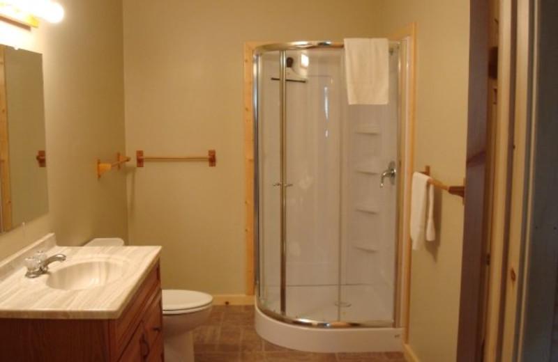 Cabin bathroom at Anchor Inn Resort.