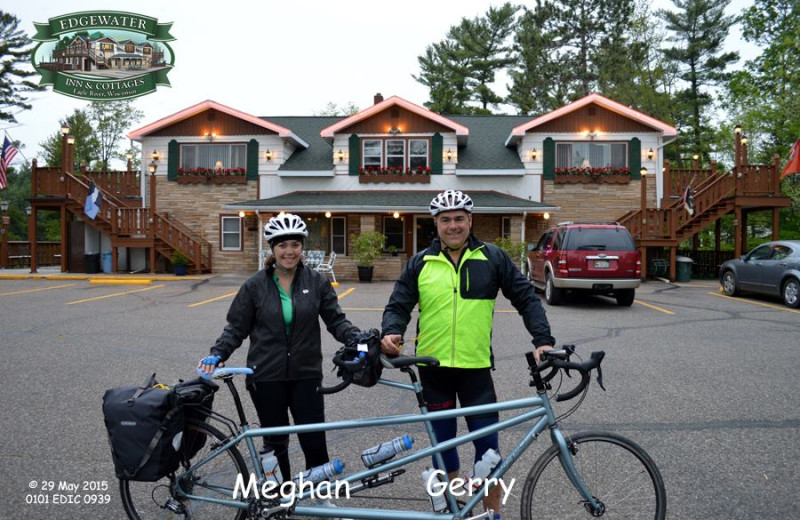 Couple biking at Edgewater Inn & Cottages.