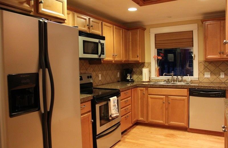 Cabin kitchen at Sisters Vacation Rentals.