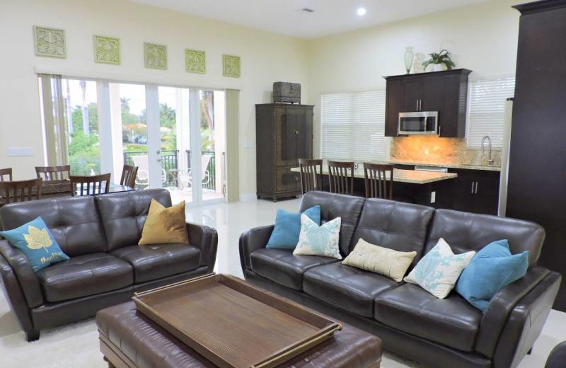 Rental living room at ValGal Vacation Rentals.