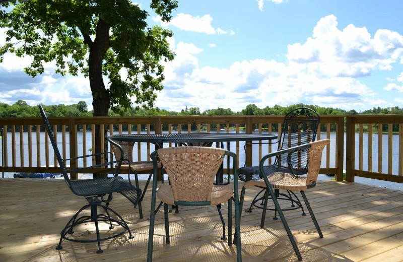 Cabin deck at Sand Lake Resort.