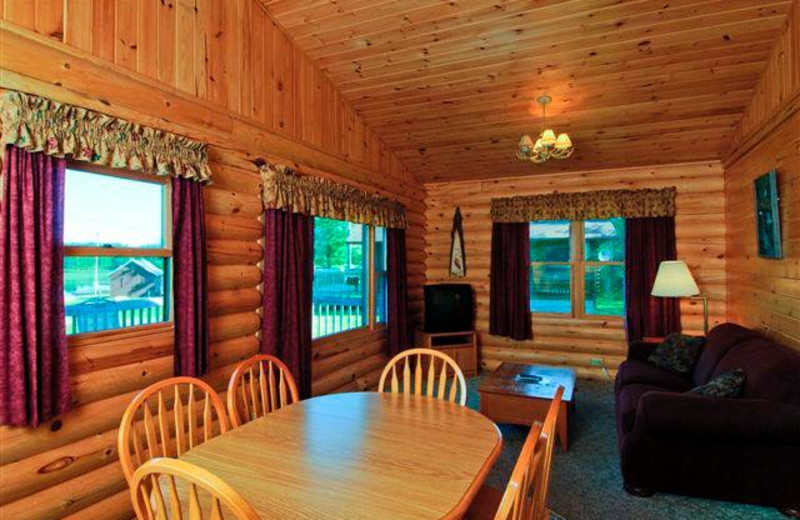 Cabin interior at Aspen Resort and Campground.