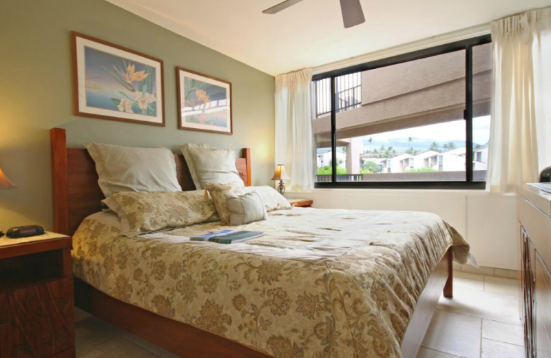 Vacation rental bedroom at Kamaole Sands.