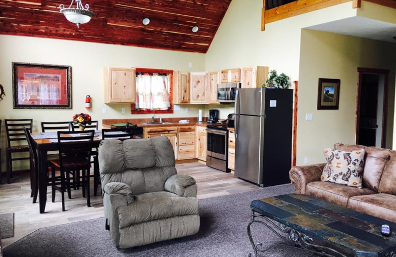 Cottage interior at Riverwood Resort.