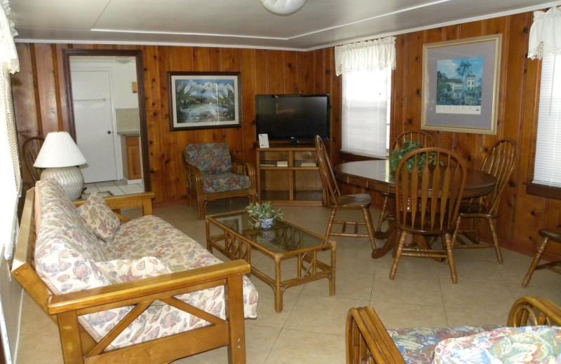 Guest living room at Rock Reef Resort.