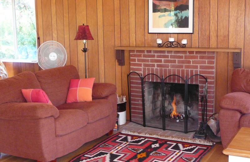 Cabin living room at Allstar Lodging.