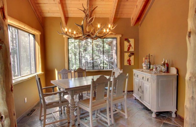 Vacation rental dining room at Vacasa Rentals Lake Tahoe.