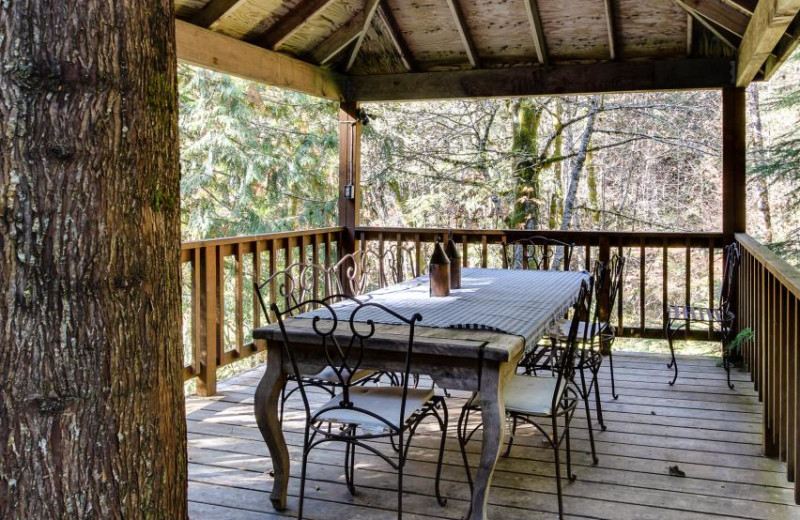 Vacation rental deck at Vacasa Rentals Mt Hood.