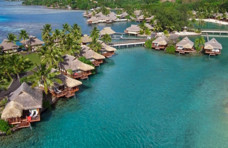 Bungalows at Moorea Beachcomber Inter-Continental Resort.