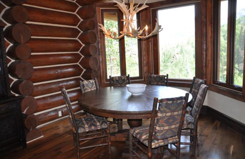 Vacation rental dining room at SilverStar Luxury Properties.
