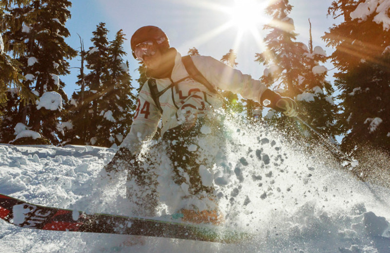 Skiing near Listel Hotel Whistler.