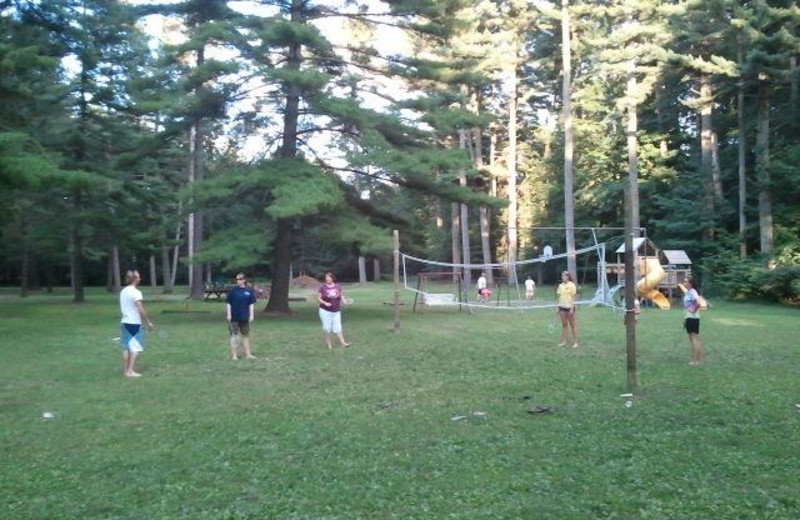 Volleyball court at Crimson Hue Resort.