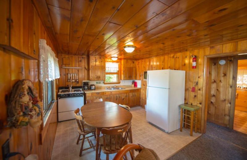 Cabin kitchen at Snyder's Idlewild Resort.