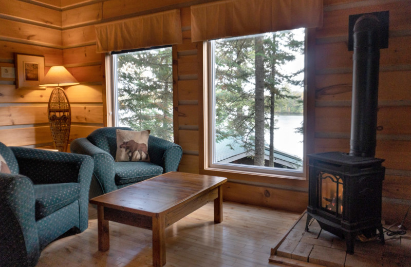 Cabin living room at Bartlett Lodge.