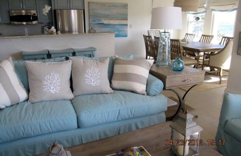 Vacation rental living room at Bay Point Resort Rentals.