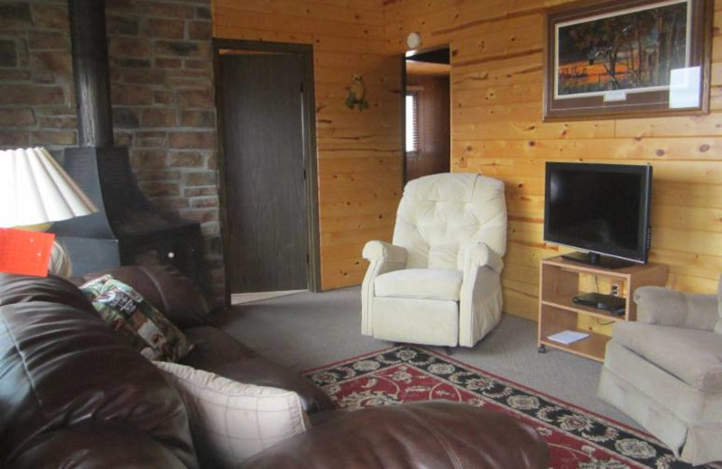 Cabin living room at Kec's Kove Resort.