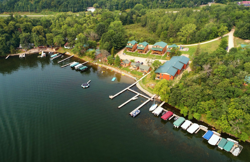Aerial view of Campfire Bay Resort.