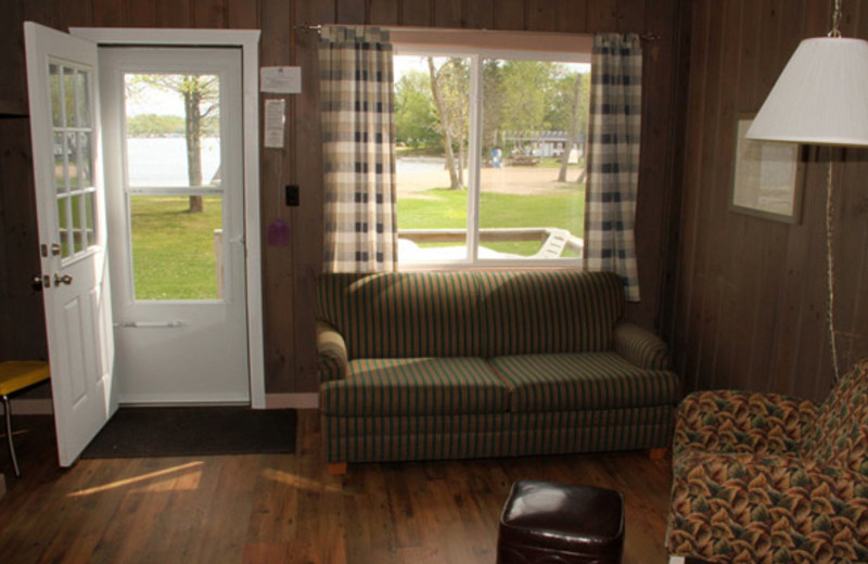 Cabin living room at Bell's Resort Bar and Grill.