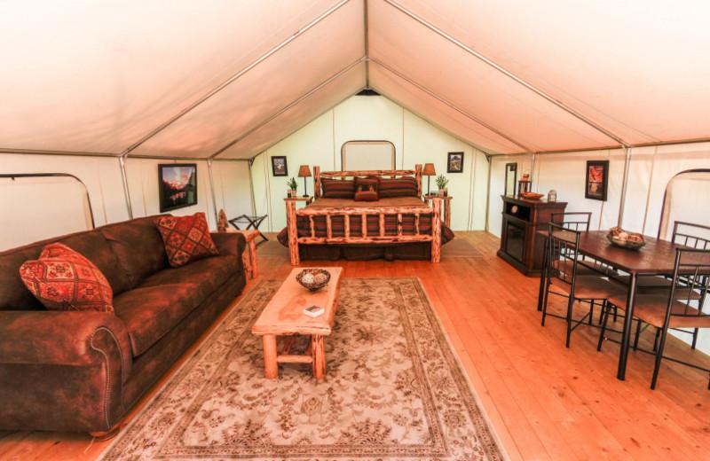Seasonal Glamping Tent at North Forty Resort.
