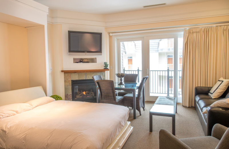 Guest room with fireplace at Bay Harbor Resort and Marina.