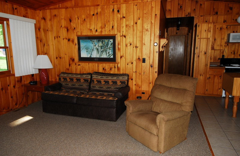 Cabin living room at Geiger's Trails End.
