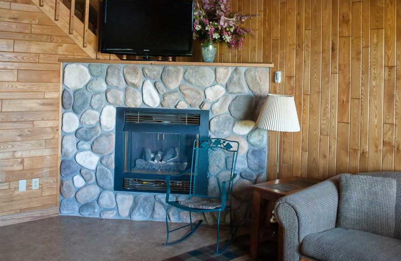 Cabin fireplace at Gull Lake Resort.