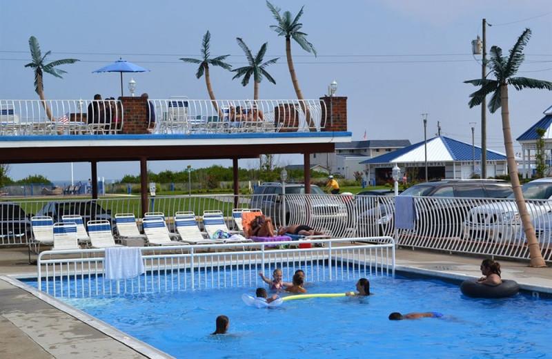 Outdoor pool at Diamond Crest Motel.